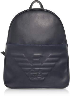 Emporio Armani Black Eagle Embossed Eco Leather Men's Backpack