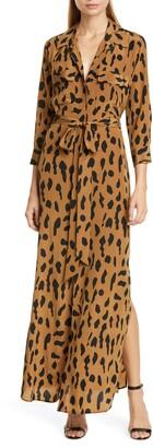 L'Agence Leopard Print Silk Maxi Shirtdress
