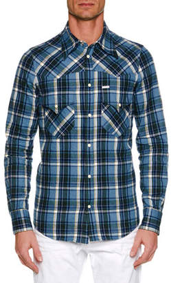 DSQUARED2 Men's Western-Style Plaid Shirt
