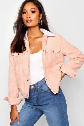 boohoo Padded Borg Collar Cord Jacket