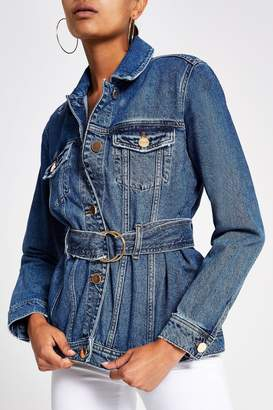 River Island Womens Mid Authentic Belted Jacket - Blue