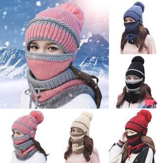 unrbanded 3PCS/Set Women Warm Knitted Hat and Circle Scarf with Fleece Lining Warm Hat Scarf