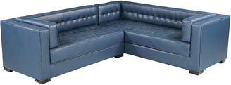 Chic Home Lorenzo Navy Leather Right Sectional