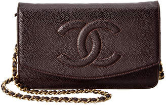 Chanel Chocolate Caviar Leather Timeless Cc Wallet On Chain