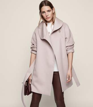 Reiss Aeven Faux Fur Collar Wrap Coat