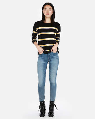 Express Striped Shirttail Hem Sweater