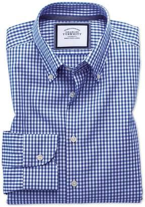 Charles Tyrwhitt Classic Fit Business Casual Non-Iron Royal Blue Check Cotton Dress Shirt Single Cuff Size 15.5/32