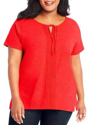 Just My Size Women's Plus Split Neck Lace Detail Top