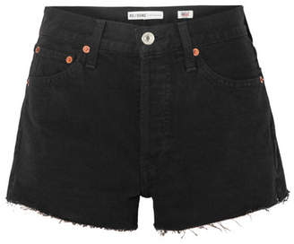 RE/DONE The Short Frayed Denim Shorts - Black