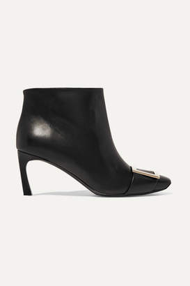 Roger Vivier Belle Vivier Trompette Leather Ankle Boots - Black