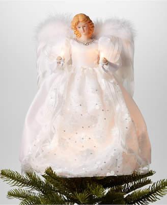 "Holiday Lane 14"" Angel Led Christmas Tree Topper in White Dress"