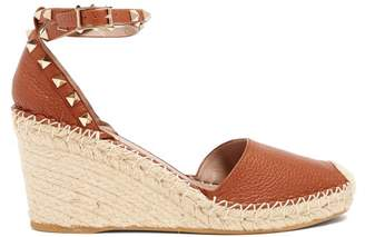 Valentino Rockstud Leather Espadrilles - Womens - Dark Tan