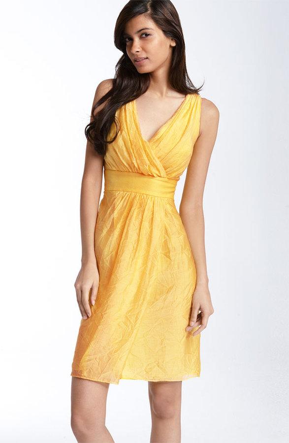 Suzi Chin Maggy Boutique Crinkled Satin Sheath Dress