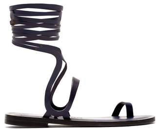 Álvaro González Alea Wraparound Leather Sandals - Womens - Navy