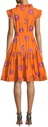 Double J Ruffled-Neck Sleeveless Self-Belt Printed Cotton Dress
