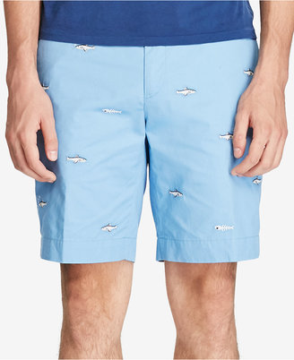 "Polo Ralph Lauren Men's 9"" Stretch Classic-Fit Embroidered Fish Shorts $79.50 thestylecure.com"