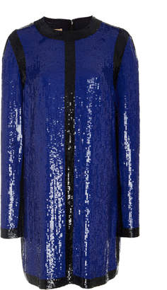 Michael Kors Embroidered Long Sleeve Shift Dress
