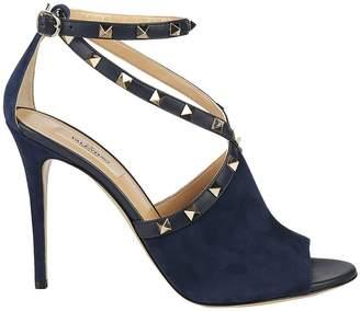 Valentino GARAVANI Heeled Sandals Rockstud Suede Sandal With Crossed Straps