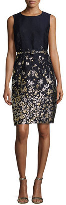 Oscar de la Renta Floral-Embroidered Sleeveless Sheath Dress, Navy/Gold $2,490 thestylecure.com