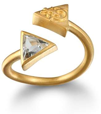 Satya Jewelry Green Amethyst Gold Plate Triangle Om Adjustable Ring, Size