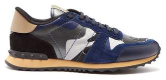 Valentino Rockrunner Camouflage Suede Trainers - Mens - Navy Multi