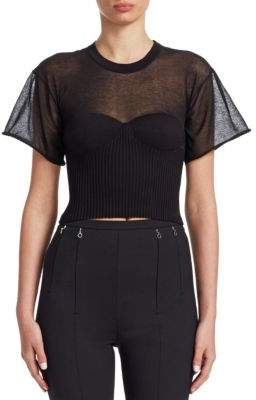 Alexander Wang Cropped Tee With Integral Bra Cups