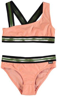 Molo Nicola Asymmetric Metallic-Trim Bikini Set, Size 3T-12