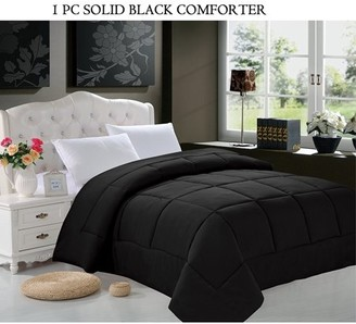 Elegant Comfort Goose Down Alternative 1pc SOLID Black Comforter - Available In A Few Sizes And Colors , King/Cal King, Black