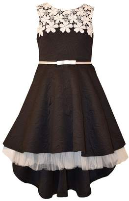 Bonnie Jean Big Girls 7- Sleeveless Lace belted High low Dress - Black Party Dress