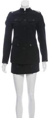Burberry Wool Mandarin Collar Skirt Suit