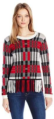 Splendid Women's Plaid Fringe Sweater