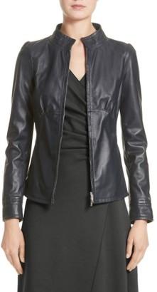 Women's Armani Collezioni Seamed Leather Jacket $1,495 thestylecure.com
