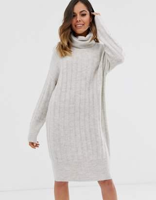 New Look roll neck rib jumper dress in grey