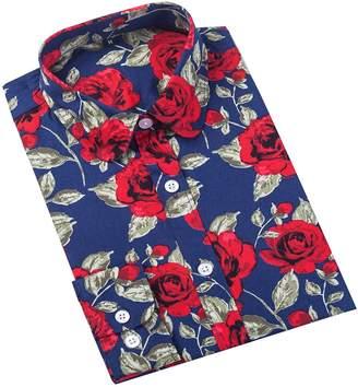 Xi Peng Women's Fashion Feminine Tops Blouse Work Button Down Long Sleeve Floral Dress Shirts (XXX-Large, )