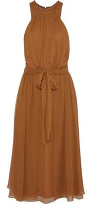 Halston Tie-Front Georgette Midi Dress