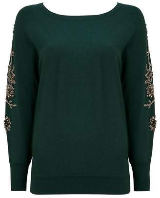 Wallis Green Embellished Sleeve Batwing Jumper