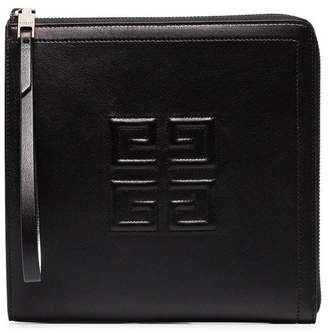 Givenchy black leather logo embossed wristlet