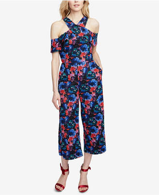 Rachel Roy Printed Cold-Shoulder Cropped Jumpsuit