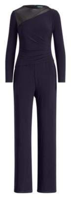 Ralph Lauren Leather-Trim Jersey Jumpsuit Lighthouse Navy-Lh Navy 6