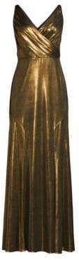 Aidan Mattox V-Neck Metallic Fit-&-Flare Gown