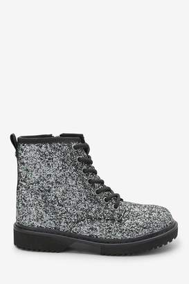 Next Girls Glitter Lace-Up Boots (Older) - Silver