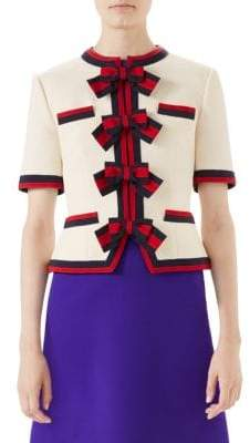 Gucci Sable Short-Sleeve Brooch Jacket