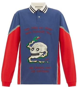 Gucci Skull And Snake Applique Cotton Polo Shirt - Mens - Red Multi