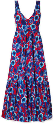 Borgo de Nor Venetia Floral-print Crepe Maxi Dress - Blue