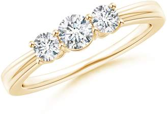 Anara.com Step-Eded Three Stone Diamond Tapered Rin in 14K Yellow old