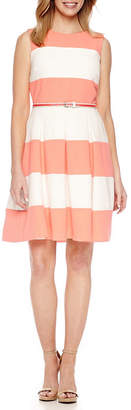Chetta B BE BY Be by Sleeveless Stripe Fit & Flare Dress