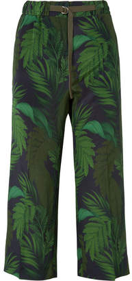 Moncler Cropped Printed Silk Straight-leg Pants - Green