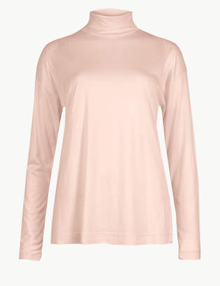 6a9c6e7b109ff4 M S CollectionMarks and Spencer Mercerised Funnel Neck Long Sleeve Top
