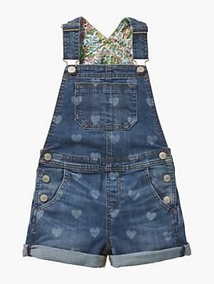 Boden Mini Girls' Heart Print Short Dungarees, Mid Vintage Blue