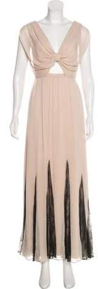 Alice + Olivia Sleeveless Lace-Trimmed Dress Brown Sleeveless Lace-Trimmed Dress
